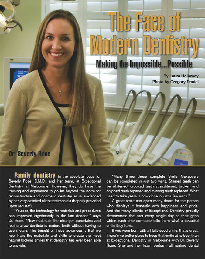Family dentistry magazine article page one