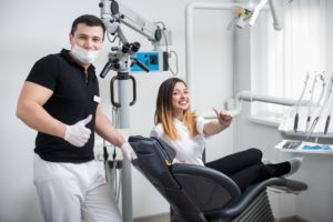 Woman at dental checkup with dentist in Melbourne.